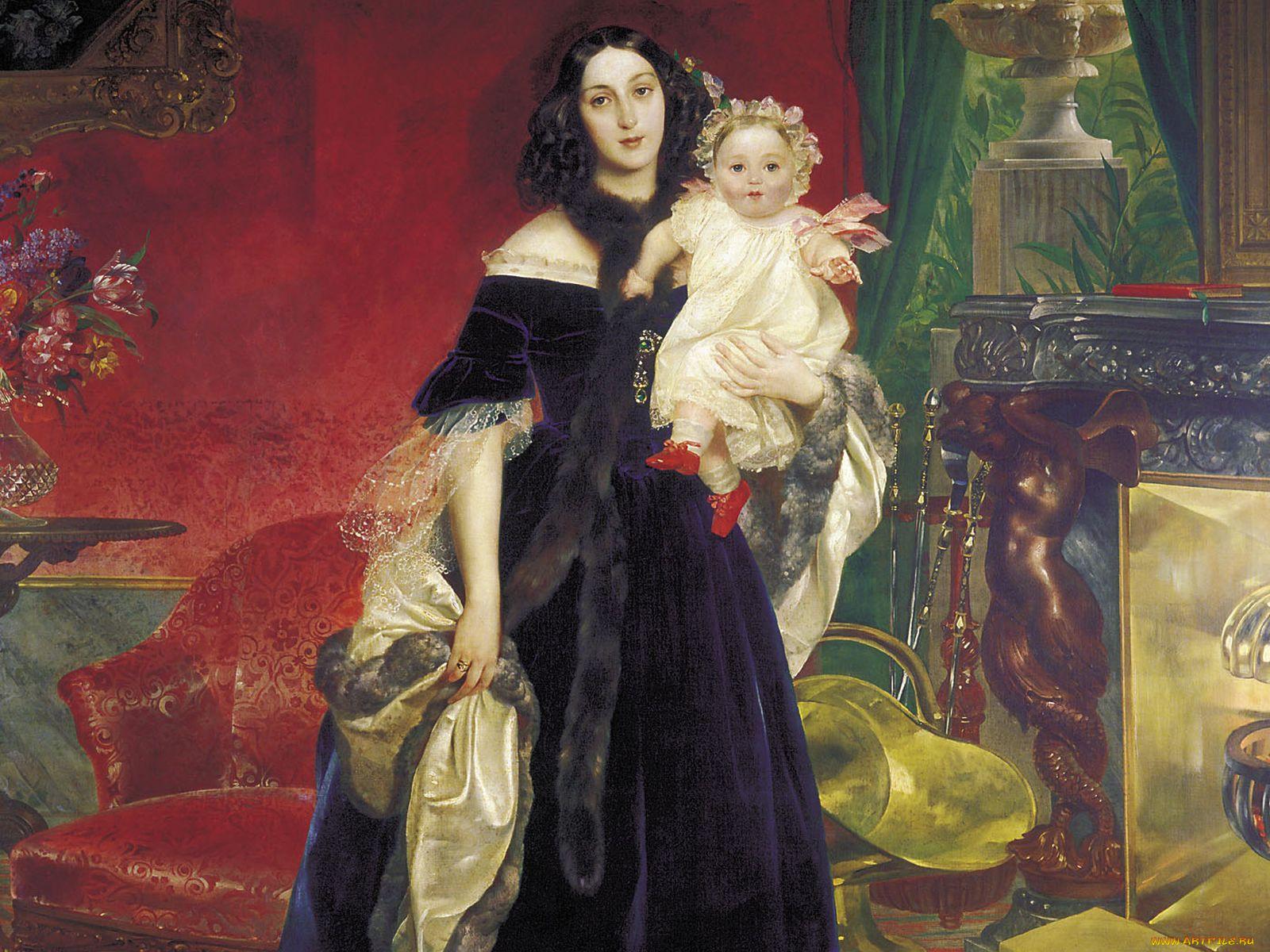 Изображение медного ведерка для угля или дров на картинах известных художников, К. Брюллов, Портрет М. А. Бек с дочерью М. И. Бек